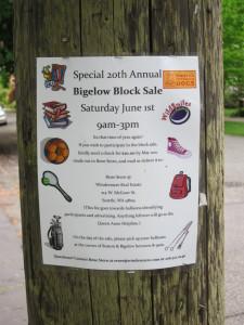 Bigelow Block Sale sign