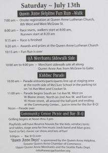 Queen Anne Days 2013 agenda