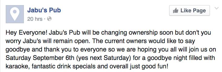 Jabu's Facebook post
