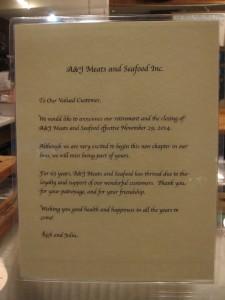 A&J Closing Sign